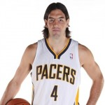 Sep 27, 2013; Indianapolis, IN, USA; Indiana Pacers guard Luis Scola (4) poses for a photo during Pacers media day at Bankers Life Fieldhouse. Mandatory Credit: Brian Spurlock-USA TODAY Sports